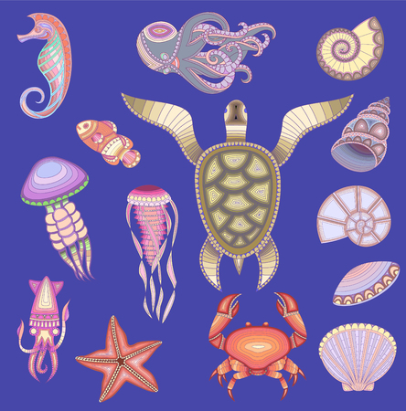 cartoon sea inhabitants. Set of marine inhabitants. Vector illustration Çizim