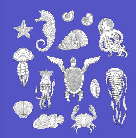 cartoon sea inhabitants. Set of marine inhabitants. Vector illustration  イラスト・ベクター素材