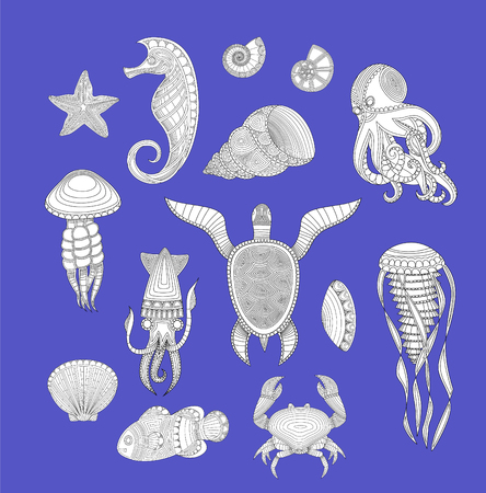 cartoon sea inhabitants. Set of marine inhabitants. Vector illustration 일러스트