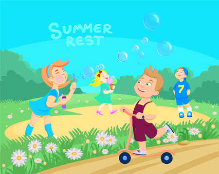 cartoon children playing on the street. Summer vacation. Vector illustration