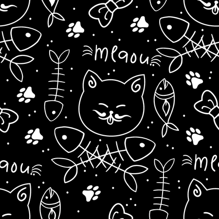 Seamless vector pattern with cute cats. Vector illustration