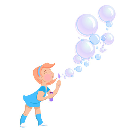 A cartoon girl blowing soap bubbles on a white background Vector illustration