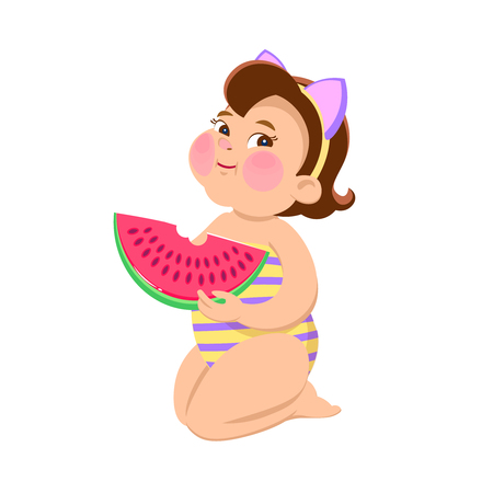 Cartoon girl eating watermelon on a white background. Summer vector illustration.