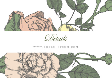 hand-drawn  wedding invitation card suite with  vintage flower Templates