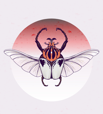 Goliath with skull wings. Vector hand-drawn illustration