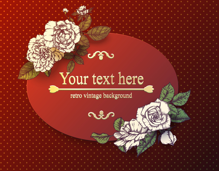 vintage card with hand drawn roses. Vector illustration Illustration