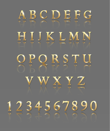 Metallic letters and numbers. gold alphabet Vector illustration
