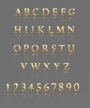 Letras y números metálicos. Ilustración de vector de alfabeto de oro Foto de archivo - 104906371