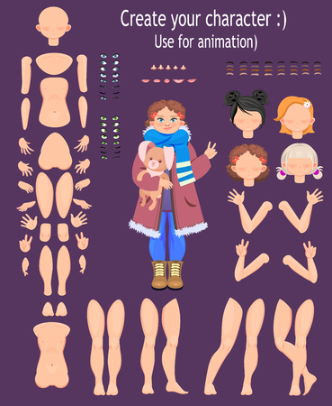 character design. Teen girl, for animation. Vector illustration