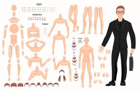 Gestileerde tekens ingesteld voor animatie. Sommige delen van het lichaam. Vector illustratie Vector Illustratie