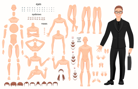 Stylized characters set for animation. Some parts of body. Vector illustration