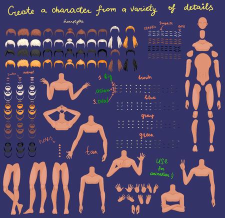 Personajes de hombre estilizados para animación. Algunas partes del cuerpo. Ilustración vectorial