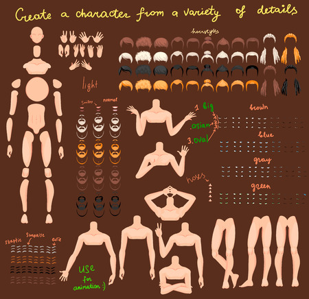 Stylized man characters set for animation. Some parts of body. Vector illustration Archivio Fotografico - 109494474