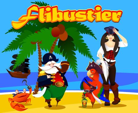 cartoon characters pirates, pirate crab, parrot on the shore of the island. Vector illustration Vektoros illusztráció