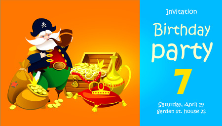 One-legged pirate captain with treasure. Invitation to a children's party. Vector illustration Ilustração