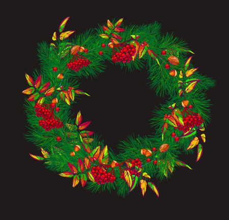 Christmas wreath with red berries and christmas tree. Vector illustration.