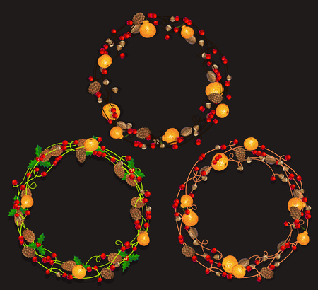 Set Weihnachtskränze aus Girlanden. Vektor-Illustration