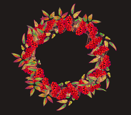 Christmas wreath with red berries. Vector illustration.