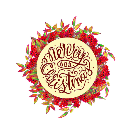Christmas wreath with red berries and christmas tree and lettering. Vector illustration. Vettoriali