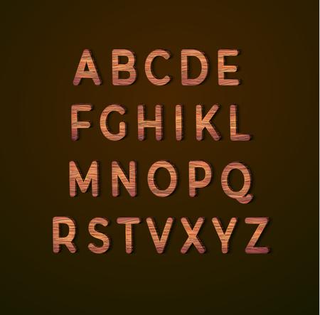 Alfabeto de madera con textura de madera. Ilustración vectorial