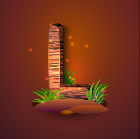 Wooden letter L decorated with grass and crickets. logo vector illustration