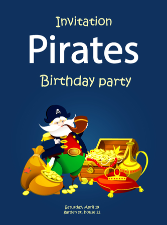 Invitation to a pirate party. Children's holiday. Vector illustration Illustration
