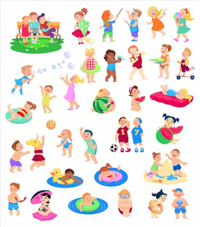 collezione di cartoni animati di personaggi per bambini, vacanze estive, vacanze. Illustrazione piana di vettore. Vettoriali