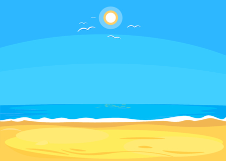 Flat Seascape, cartoon style. Vector illustration Ilustração