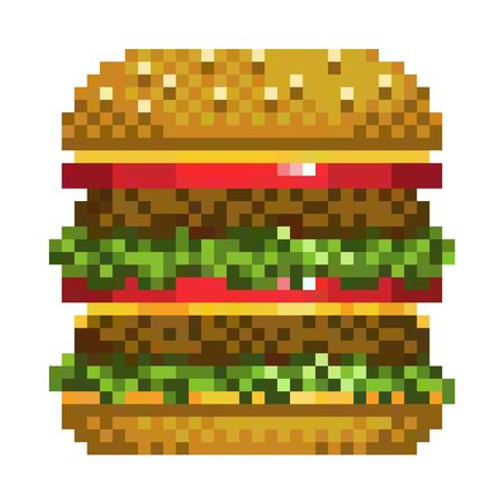 pixel art burger icon, 32X23 pix, Vector illustration on a white background