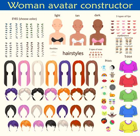 woman avatar constructor. character creation set. Icons with different types of faces, emotions. Vector illustration Vector Illustratie