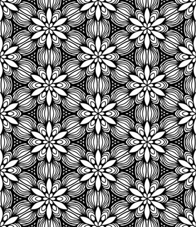 Seamless abstract pattern. black and white linear illustration for coloring. Vector coloring book for adult.