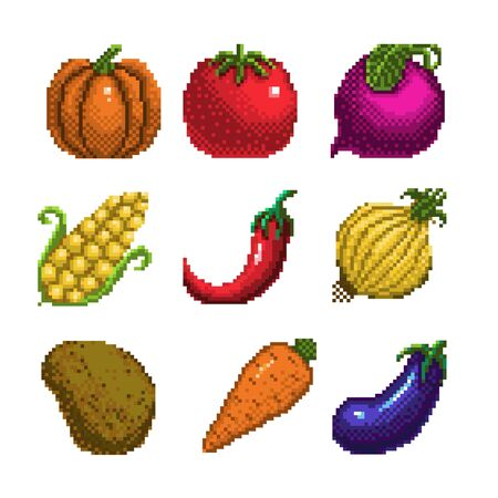 set of pixel art vegetables icon. 32x32 pixels. Vector illustration on a white background. Vettoriali