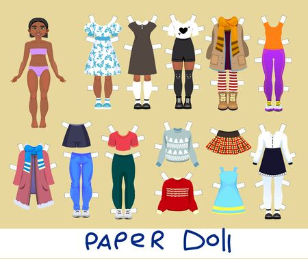 Cute girl Paper Doll with Set of Clothes and Shoes. Vector illustration
