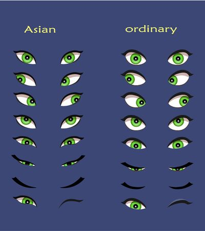 Set of female eyes. Vector illustration for animation and glamour design. Close and open woman eyes