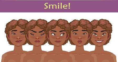 African American pretty girls. Vector Illustration. Great for avatars