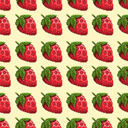 Seamless pixel background with strawberries. Vector illustration