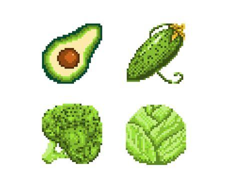 Pixel style icon green vegetables. Vector illustration 32x32 pix Ilustração