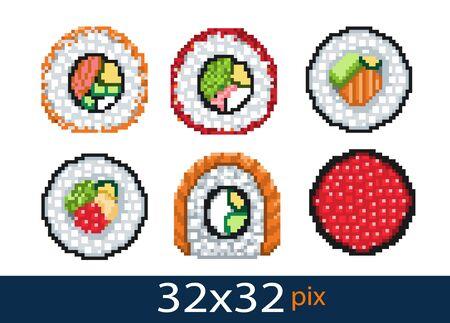 Pixel style icon seafood rolls. Vector illustration 32x32 pix Ilustração