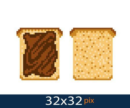 Pixel style toast icon with peanut butter. Vector illustration 32x32 pix