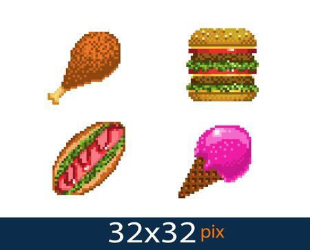 pixel style street food icons. Vector illustration 32x32 pix