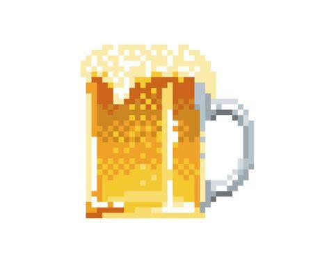 Pixel beer pint style icon. Vector illustration 32x32 pix