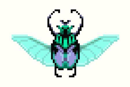 pixel style goliath beetle icon. Vector illustration 32x32 pix