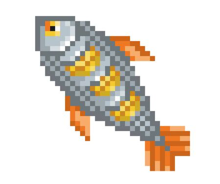 Pixel baked fish style icon. Vector illustration 32x32 pix