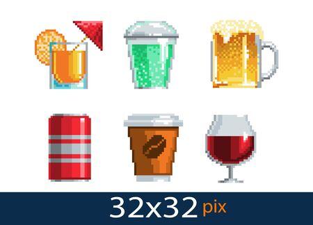 Pixel style drinks icon. Vector illustration 32x32 pix