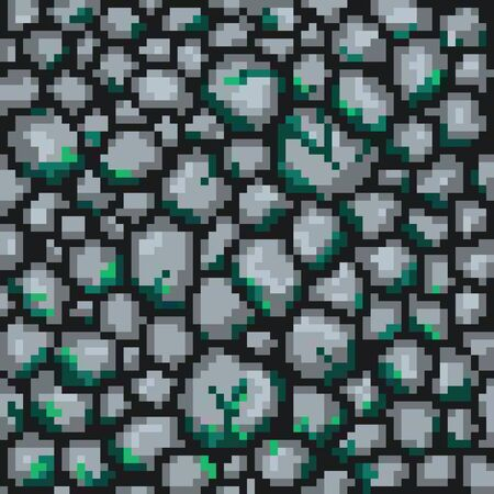 Seamless pixel background with stones. Vector illustration 矢量图像