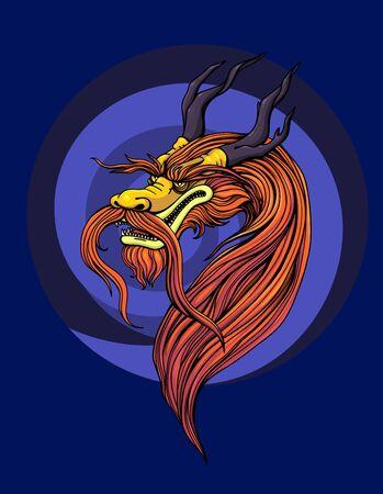Chinese dragon, mythical monster, yormungand. Vector illustration Illustration