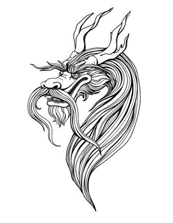 coloring  dragon, mythical monster, yormungand. Vector illustration