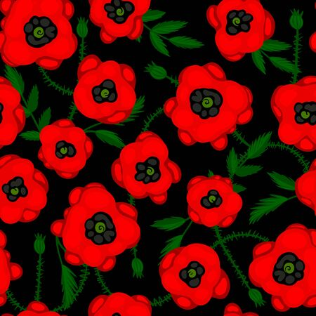 Seamless pattern with poppies on a black background. vector illustration Vettoriali