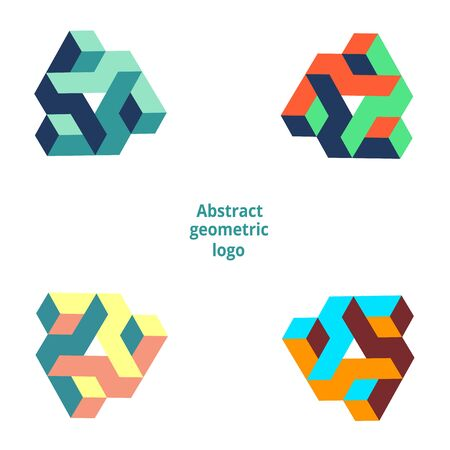 set abstract geometric logo on a white background. Vector