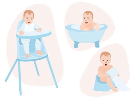baby care isolated vector set Child eating in a baby chair table bathing in a small tub kid learn to use the toilet Toilet paper blue colours blond children Maternity first steps Happy newborn infant